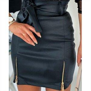 Fashion Women Skirt Mini Slim Skirt High Waist Office Ladies Pu Leather Pencil Bodycon