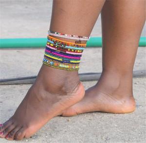 Kristal Boncuk Halhallar Bilezikler Kadınlar Kızlar El yapımı Plaj Halhal Stretch Bileklik Bilek Bilek Bilezik Barefoot Sandalet Ayak Takı LY10191
