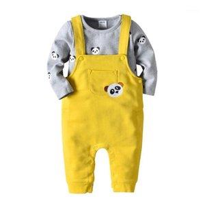 VTOM Baby Mode Sets Baby Kinder Anzug Jungen Kleidung langärmelige Tops + Hosenträger Hosen 2 stücke Kinder Kleidung XN671
