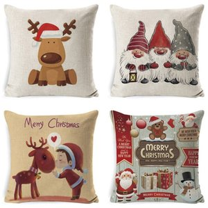 Hot Style 45X45cm New Year Decor Merry Christmas Decorations for Home Pillowcase Santa Linen Cover Cushion