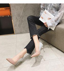 Dernières femmes Sandales d'été Fashion Talons hauts 8cm 6cm Party Mariage Mariage pointu des orteils coulisseurs chaussures de robe taille 35-39