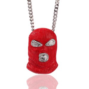 Hip Hop CSGO Pendant Necklace Mens Punk Style 18K Alloy Gold Silver Plated Mask Head Charm Pendant High Quality Cuban Chain Free shipping