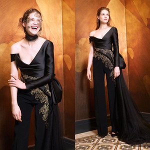 Elegant Women Black Jumpsuit with Tulle Overskirt Embroidery Satin Prom Dresses Custom Made Long Sleeve Evening Gowns
