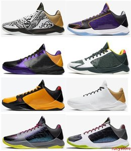 New Mamba Zoom 5 Protro Big Stage Parade Lakers Eybl Bruce Lee Chaos 2020 Men Basketball Shoes Sports Sneakers With Box