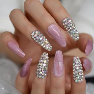 Блестящая AB Хола Кристалл розового мрамора камень шаблон Нажмите на балетных накладных ногтях Удлиненной Coffin Балерина полное покрытие UV ноготь