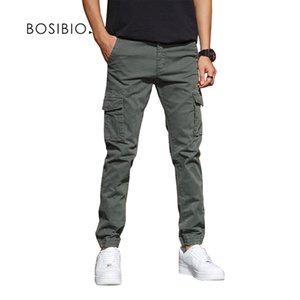 BOSIBIO Herren Slim Fit Multi Pocket Cargo Hosen Männliche Solide Neue Jogger Hohe Qualität Lange Hose LJ201007