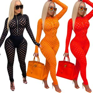 Women Onesies 2021 Designer Spring And Autumn Ladies New Jumpsuit Fashion Sexy Slim Hollow Perspective One Piece Pants Fit Rompers