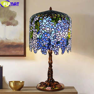FUMAT Tiffany Style Table Lamp Wisteria Apple Flower Grape Stained Glass Shade Copper Cast Iron Mosaic Base Art Decor Desk Light