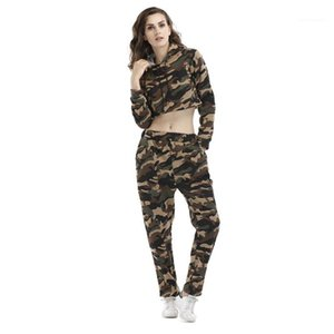 Womens 2Pcs Camouflage Print Designer Tracksuits Hooded Long Sleeve Short Designer Long Sleeve Pants Fsahion Style Female Clothing