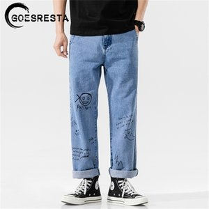 Goesresta Fashoins coreanos Vintage Pantalones rectos Hip Hop Streetwear Harem Pants Harajuku Hombres holgy Jeans Y201123