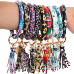 46styles Leather Bracelet Key Chain PU Wristr Round Key Ring Tassel Pendant Leopard Bufflao Wristband Keychain Bracelets Key Rings c3687