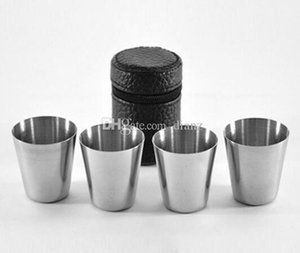 4pcs set mini 30ml Portable Stainless Steel Wine Cups Drinking Liquor Alcohol Whisky Vodka Bottle Mug Travel Barware Accessories
