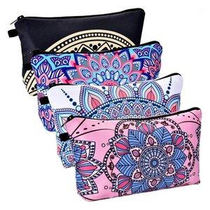 4 шт. Макияж сумка водонепроницаемая туалетная сумка косметическая сумка с узорами цветов мандалы, 4 стилей1