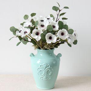 실제 터치 인공 말미잘 실크 플로레스 Artificiales 결혼식 지주 가짜 꽃 홈 정원 장식 화환 GGA