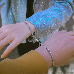 2 unids / set MAGNET Pulsera de cadena para parejas de acero inoxidable encanto enlace pulseras brazaletes conjunto hombres mujeres joyería de san valentín regalo