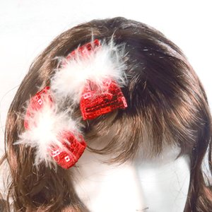 Festive party supplies christmas sequin bowtie hair clips with white feather 2pcs as a pair for girls nice dressing up