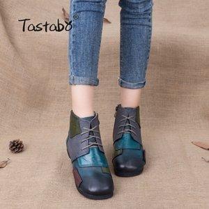 Tastabo Mode Bottes à la main pour Femmes Chaussures à lane Chaussures Vintage Chaussures Folkline Cuir Véritable Bottes 201103