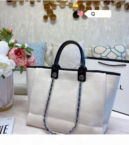 2020 Ladies design monochrome monogrammed embroidered shopping bag leather chain bag cross-body beach bag size 38*30cm