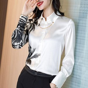 Long Sleeve White Ink Print Blouse Women White Patchwork Office Lady Casual Tops 2021 Summer Autumn New Fashion Shirt Loose Tops