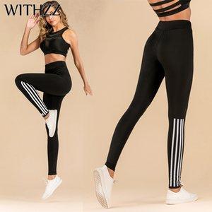 Withzz Stretch Fashion Pull Strip Impresso Cintura Alta Sportleggings Mulheres Workout Leggings