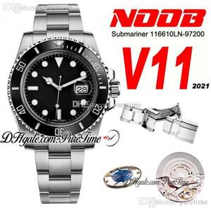 2021 N V11 SA3135 Automatic Mens Guarda Black Ceramics Bezel Quadrante nero 904L Bracciale in acciaio 904L Best Edition Watches PtrX Nuovo Puretime B2