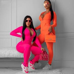 neues neon pink orange zwei Stücke stellen Frauen Fitness Sportswear 2020 Herbst langen Hülse dünne Tops elastische Gamaschen Trainingsanzug