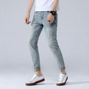 Мужские джинсы 2021 винтажный стиль мужчины тонкий поцарапанный джинсовая манжета нога мужчина ретро потрясенный пакет мужской личный удивительный случайные джинсовые брюки