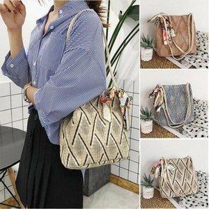 Vintage Handmade Straw Woven Bag Rattan Retro Straw Rope Knitted Women Crossbody Handbag With Ring Fresh Summer Beach Bag1