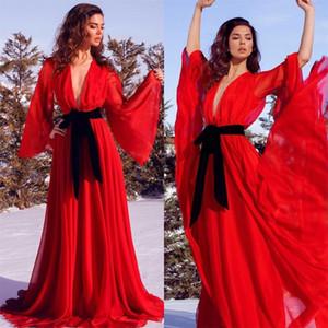Красный шифоновый для беременных женщин платья выпускного вечера платья 2021 Sexy V шеи Фото Длинные рукава Lady Пижамы Халат Nightgown платье партии AL7190