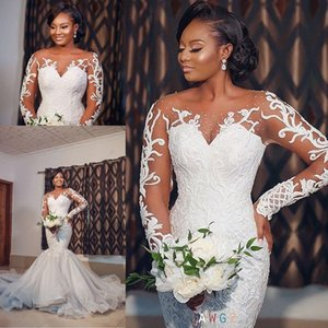 Modern 2021 Sheer Neck Illusion Long Sleeve Mermaid Wedding Dresses Lace Applique Outdoor African Trumpet Bride Wedding vestido de noiva