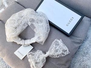 Clásica diadema de encaje blanco bufanda para el cabello banda puro para mujeres de la señora hermosas damas Türband accesorios principales nobles de lujo