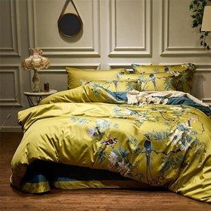 Желтый шелковистый египетский хлопок Chinoiserie стиль птиц растение одеяло чехол кровать листовой комплект листа набор king queen-size комплект постельного белья 201021