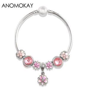 Americano semplice europea Romantico Pink Cherry Blossoms il braccialetto di fascino colore d'argento Diy braccialetto regalo Bead Stile
