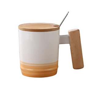 Japanese Style Wooden Handle Mug Mug With Lid And Spoon Office Afternoon Tea Ceramic Mug With Gradient Coffee Cup bbyarG bdebaby