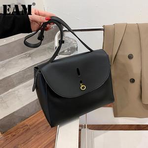 [EAM] Женщины Новая тенденция высококачественный PU кожаная лоскутная личность все-матч Crossbody сумка модный прилив 2021 18A1384