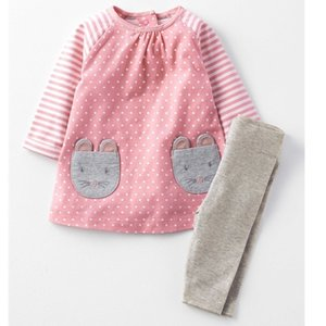 Little maven 2-7Years Autumn Bird Cat Cotton Two-piece Toddler Kids Girl Fall Clothing Sets Children's Boutique Outfits For Baby 201126