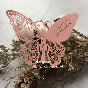 50pcs lot Free Shipping Butterfly Shape laser Cut Place name Seat Cup Card Wedding Invitation glass Cards text personalized