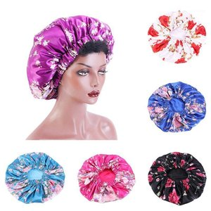 Stretch Satin Bonnet Hat Women Big Size Beauty Print Floral Sleep Cap Head Cover Hair Care Night Bonnet Hat Elastic Chemo Cap1