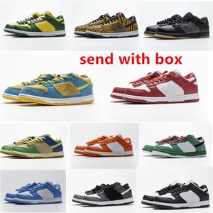 Sb sneakers erkek kadın düşük koşu ayakkabıları sığır çizgili mavi ve yeşil atletik kaykay spor ayakkabı
