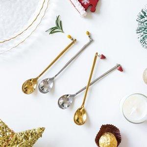 Edelstahl Weihnachten Löffel Weihnachtsgeschenk Anhänger Kaffeelöffel Dessert Tea Scoop Kinder Trinken Geschenk Löffel Geschirr GWF2992