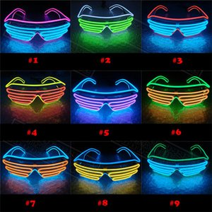 Led Party Glowing glasses EL Wire Fluorescent Flash Glass With Window Easter Graduation Birthday Bar Luminous Bar Eyewear Decorative