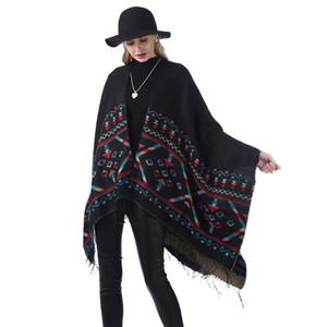 Women Oversize Striped Shawl Fashion Plaid Warm Winter Scarf Causal Lady Blanket Knit National Style Split Cloak LT-TTA1285