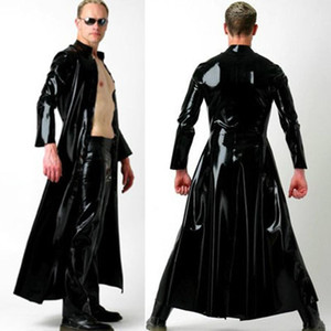 Costumi Nightclub DS DJ Black Punk moto in pelle di un pezzo Mantello Men Show costume di danza Stage di usura Festival Outfit SL2490
