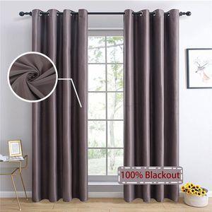 TopFinel 100% sólido cortinas apagones para dormitorio Sala de estar Cortinas ciegas ventana decoración ventana gris