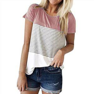 Summer Patchwork Stripe T Shirt Women Tops Tee Casual Short Sleeve Beach T Shirt Female Tunic Ropa Mujer C2235
