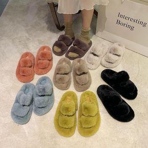 Shoes Women Loafers Womens Slippers Outdoor Pantofle Luxury Slides Winter Footwear Fur Flip Flops Low Flock Soft 2020 Designer