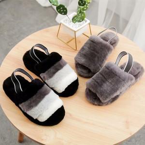 alta qualidade chinelos botas australianas crianças mulheres do desenhadoruggs peludo chinelo fluff sim escorregas pantoufles sandálias de luxo pele 16xI #