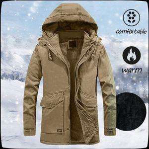 Winter Parka Men Windbreaker Plus Velvet Thick Warm Windproof Fur Coats Mens Military Hooded Anorak Jackets Men's Outerwear