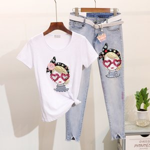 2020 new top female designer pin bead sequins cartoon girl short sleeve T-shirt + wear out small leg fashion jeans suit womens two piece set