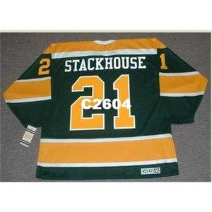 Мужчины # 21 RON Stackhouse California Golden Seals 1970 CCM Vintage Retro Hockey Jersey или пользовательское имя или номер ретро Джерси